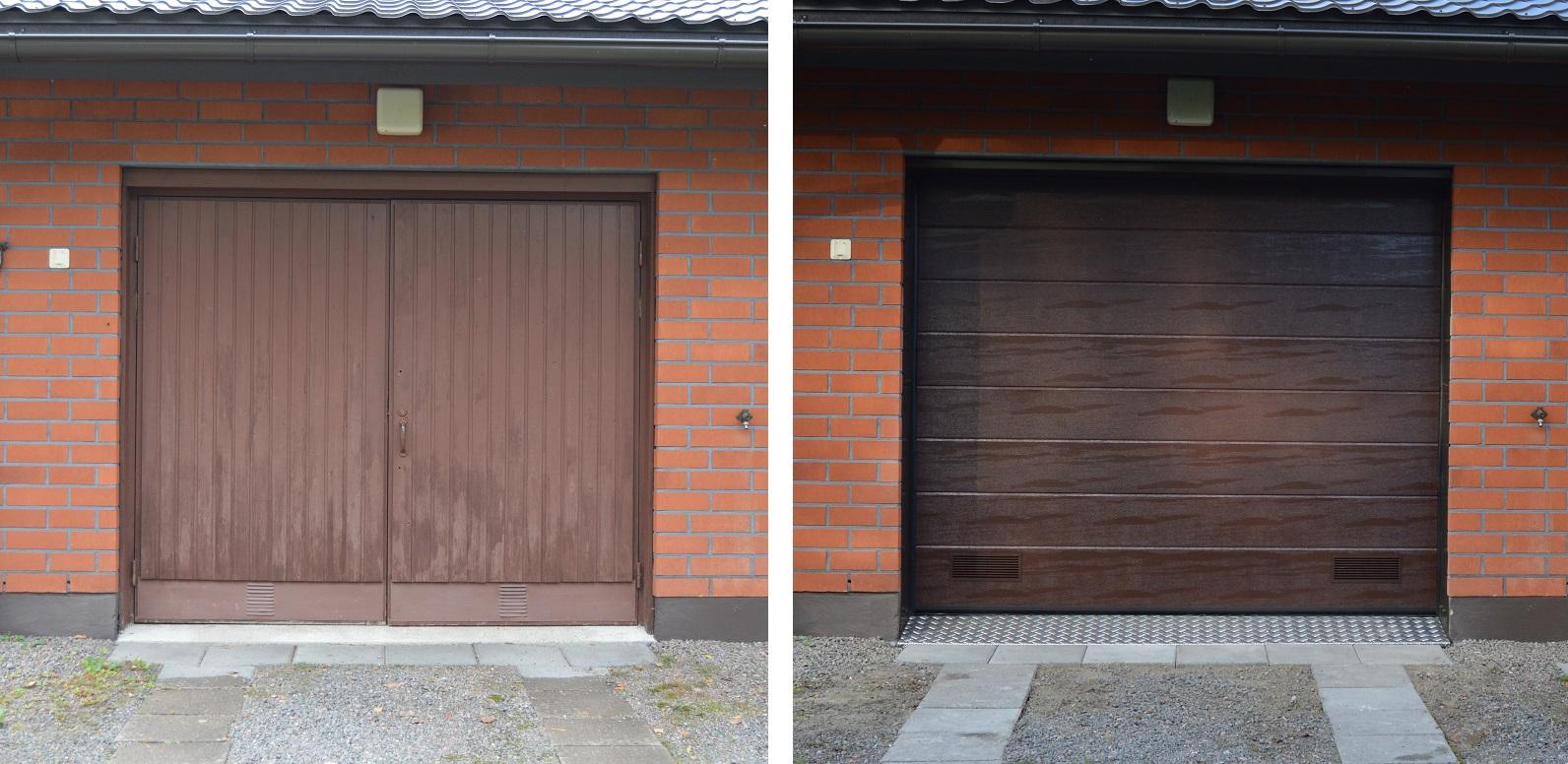 nosto-ovi ennen ja jälkeen asennuksen