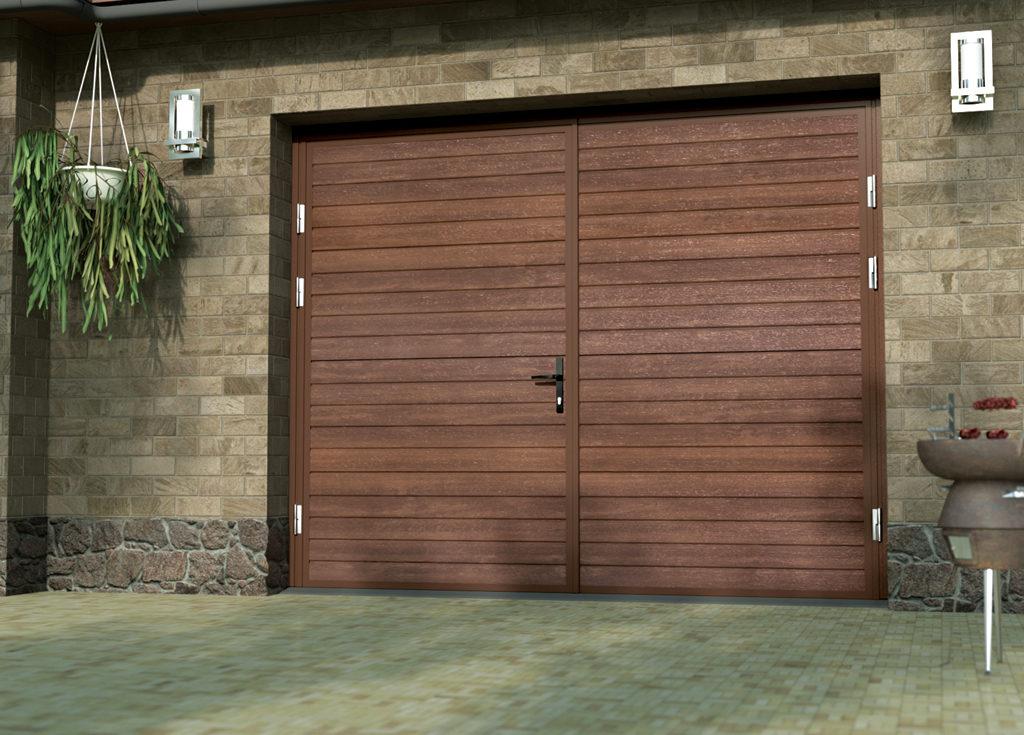 Autotallin pariovi; Vaakaurakuviointi antaa ovelle klassisen ilmeen. YKsinkertainen panelointia jäljittelevä kuviointi on yhtä rakennuksen kanssa.