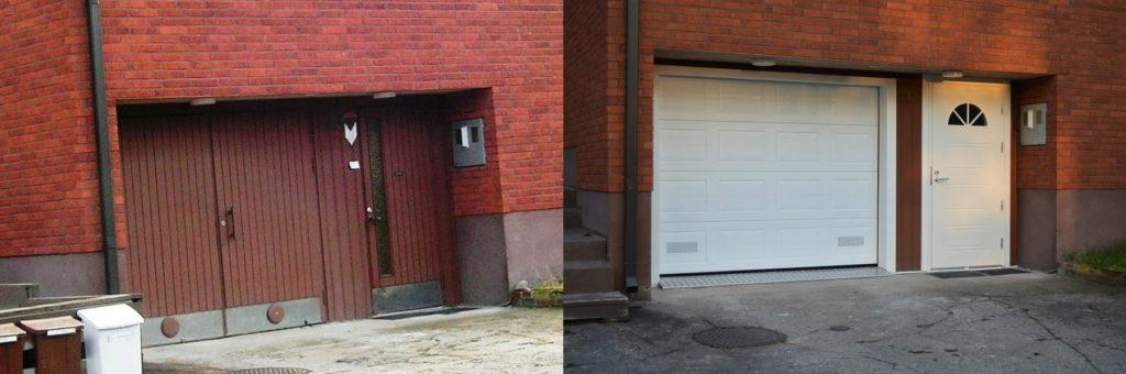Autotallin nosto-ovi ja kaskipuu ulko-ovi asennettuna Kotkassa.