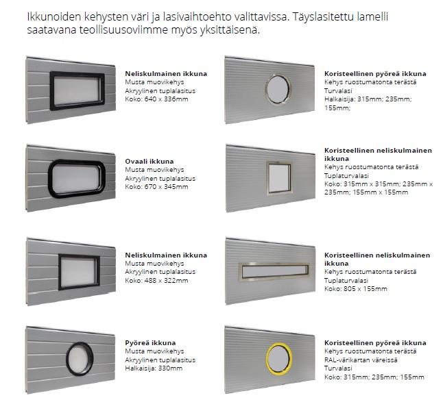 Ikkunoiden lasitusvaihtoehdot ja karmiväri valittavissa.