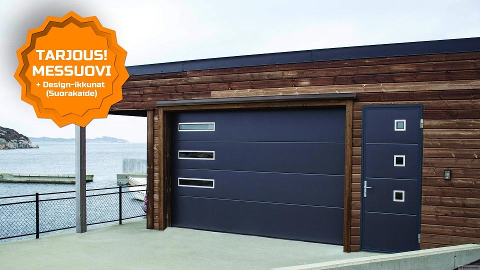 Design autotallin nosto-ovet. Uskalla toteuttaa itseäsi - JK-Ovet -Yksilöllinen lopputulos.