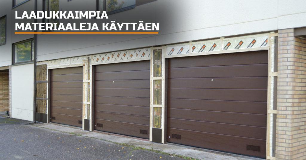 Autotallin oviaukon rakenteista pyritään tekemään mahdollisimman kestävät ja energiatehokkaat. Toteutuksessa käytämme vain laadukkaimpia materiaaleja; mittatarkkaa kertopuu väliseinärankaa, vaneria sekä polyuretaanieristystä.