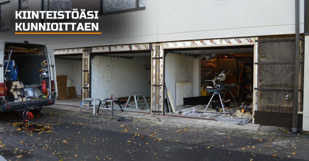 Vanhan autotallin oven purkutyö toteutetaan ennakoivasti valmis lopputulos huomioiden, asiakkaan taloa kunnioittaen ja siisteyttä painottaen. Huomioimme kantavat rakenteet ja puramme vain tarvittavan.