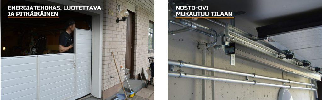 Nosto-oven oikeaoppinen asennustyö takaa uuden oven tiiveyden, varmatoimisuuden ja pitkäikäisyyden. Nosto-ovi mukautuu tilaan joustavien nostotaparatkaisujen ansiosta.