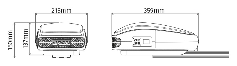 Kompakti oven avaaja vaatii vain 150mm ylätilaa.