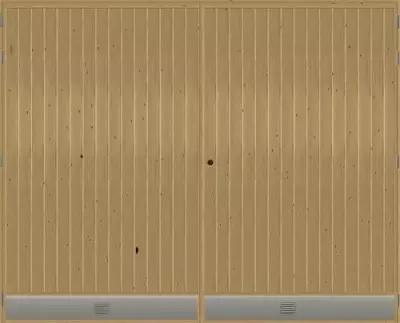 Autotallin pariovi Ovilehden reunoilla kiertää mäntyliimapuu ja pintamateriaalina käytetään ulkopuolella terveoksaista mäntypaneelia, sisäpuolella vaneri. Rungon paksuus 40 mm, paneleineen ja vanereineen kokonaisvahvuus on 58,5 mm. Eristeenä toimii EPS 60 -polystyreeni.