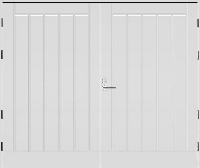 Kaskipuu autotallin pariovi lämpimään talliin; Hdf-levypintainen, alumiinivahvisteinen, reunalla liimapuun ja kertopuun yhdistelmä, kokonaisvahvuus 62 mm. Pinta kuvioitu ulkopuolelta, sisäpuoli sileä.