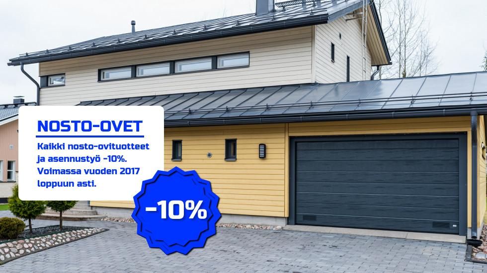 Suomi 100v talvikampanja. Kampanjan ajan kaikki nosto-ovituotteet ja asennustyö -10%.