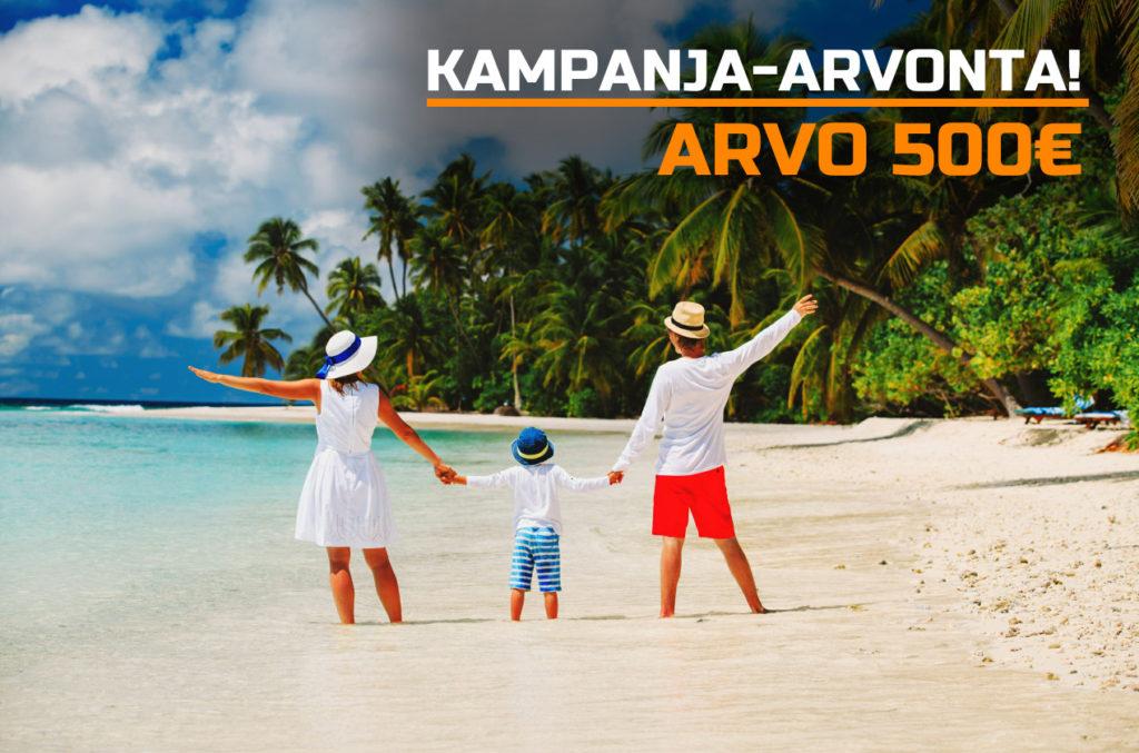 Suomi 100v -arvotaan osallistuneiden kesken arvotaan aurinkomatkojen 500€ lahjakortti.
