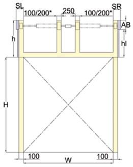 Nosto-oven korkeanostokiskojen kiinnityspinnat ja jousien ylätilavaatimukset