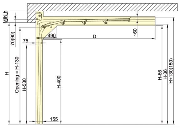 Nosto-oven matalanostokiskot jossa jouset oviaukon yläpuolella.