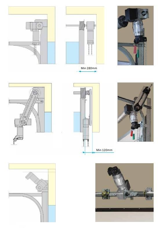 Sähkökäyttöisen nosto-oven asennustavat ja niiden sivutilavaatimukset.