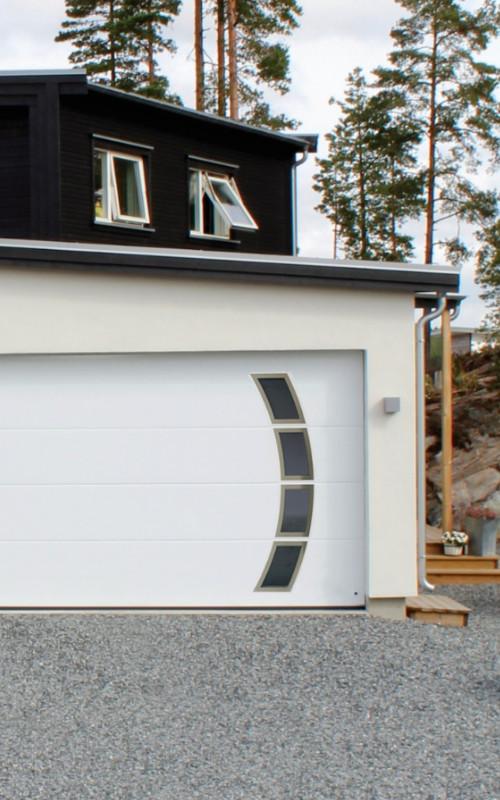 Yhtenäinen sileä nosto-ovi design-ikkunoilla - Valkoinen RAL 9016