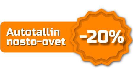 Tarjoamme autotallin nosto-ovet -20% hinnoin 6000 x 3000 mm ovikokoon asti sisältäen kaikki värisävyt poikkeuksellisesti vuoden 2020 loppuun asti.