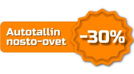 Tarjoamme autotallin nosto-ovet -30% hinnoin poikkeustilan ajan 6000 x 3000 mm ovikokoon asti sisältäen kaikki värisävyt.