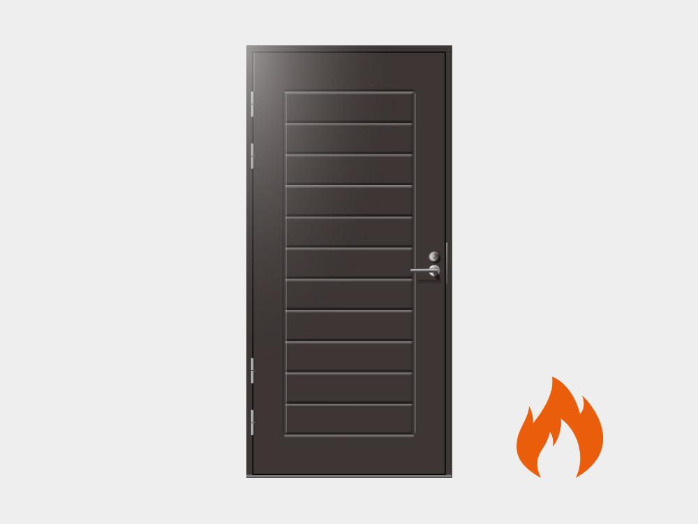 Kaikki ulko-ovet on mahdollista valmistaa myös EI30 paloluokitusvaateiden mukaan.