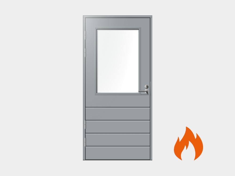Kaikki terassin ovet on mahdollista valmistaa myös EI30 paloluokitusvaateiden mukaan.
