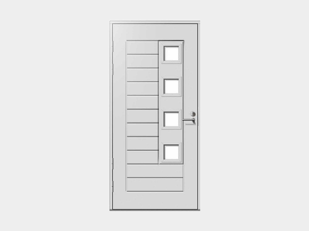 Kähäri edustaa mallistomme raikasta, modernia reunaa. Muodot ovat skandinaavisen selkeitä, mutta silti silmälle löytyy tutkittavaa. Neljä ikkunaa tuovat sisäänkäyntiin ulkonäköä ja eteiseen päivänvaloa.