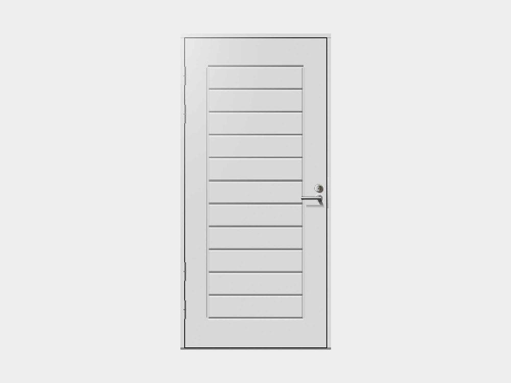 Umpinainen Kähäri on rytmitetty versio vaakaan uritetusta. Tämä ulko-ovi on näyttävä vaihtoehto varustella esimerkiksi molemminpuolisin sivuikkunoin.