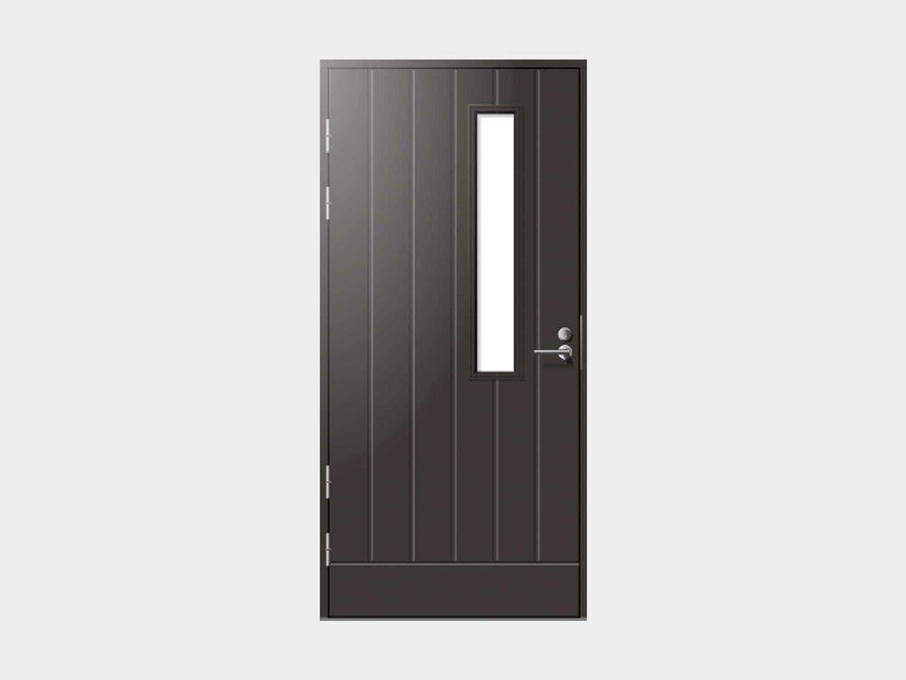 Majut ulko-ovi miellyttää konstailemattoman rakentajan ja remontoijan silmää. Pystyuritettu ovimalli on perinteikäs, mutta se asettuu tyylikkäästi paikalleen myös modernimpaan kotiin.