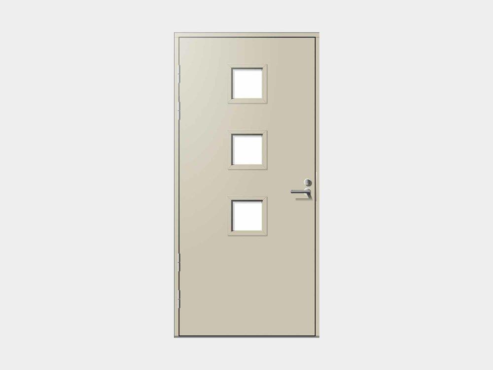 Nuotta edustaa skandinaavista minimalismia, mutta kolme leikkisää kurkistusikkunaa kuitenkin antavat sisäänkäyntisi ilmeelle silmäniskua. Vaihtamalla lasilistakehät oven väristä poikkeavaksi tämä ovi rokkaa!