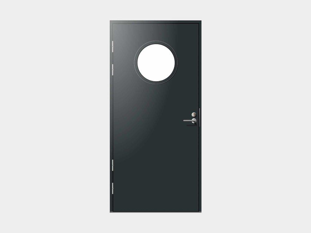 Näyttävällä pyöreällä lasiaukolla varustettu sileäpintainen Paatsalo ulko-ovi on konstailematon ja tyylikkään eleetön valinta, johon halutessasi saat lisää potkua vaihtamalla lasilistakehä ovesta poikkeavan väriseen.