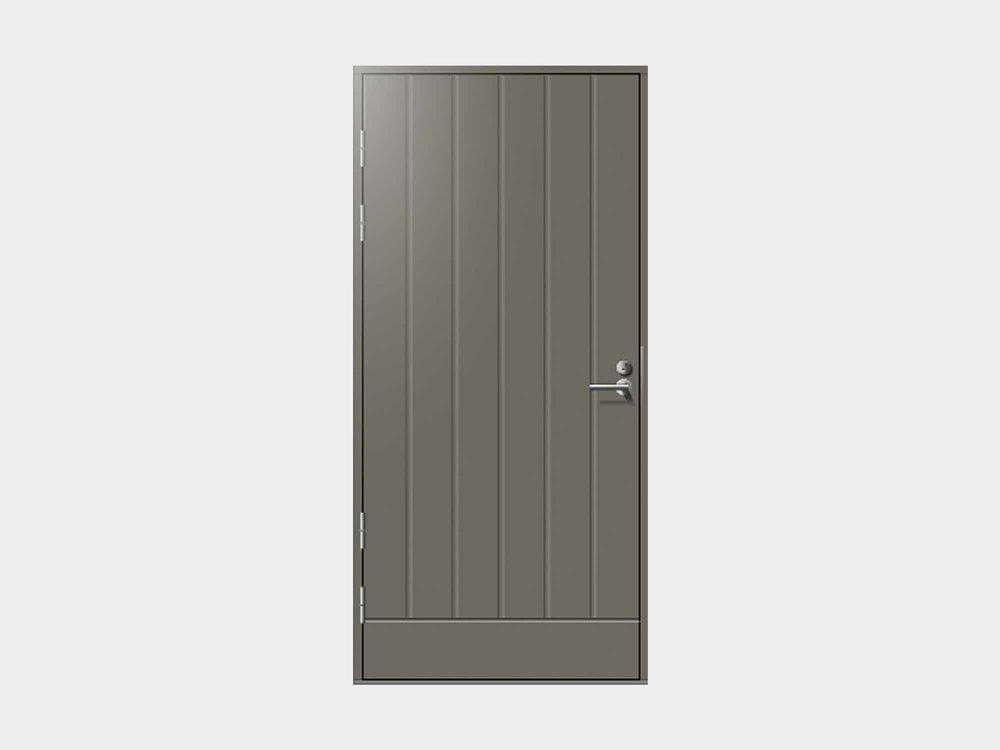 Talaksen tarkoituksenmukaisen simppeli muotokieli asettuu ovimallistomme konstailemattomimpaan reunaan. Pystyuritettu Talas ulko-ovi on vilpitön vaihtoehto, joka soveltuu hyvin pääoveksi, mutta malli on suosittu myös teknisen tilan, varaston tai autotallin käyntioveksi. Umpinaisen oven huikean hyvillä lämpöominaisuuksilla varustettu Talas on lämmin ja luotettava.