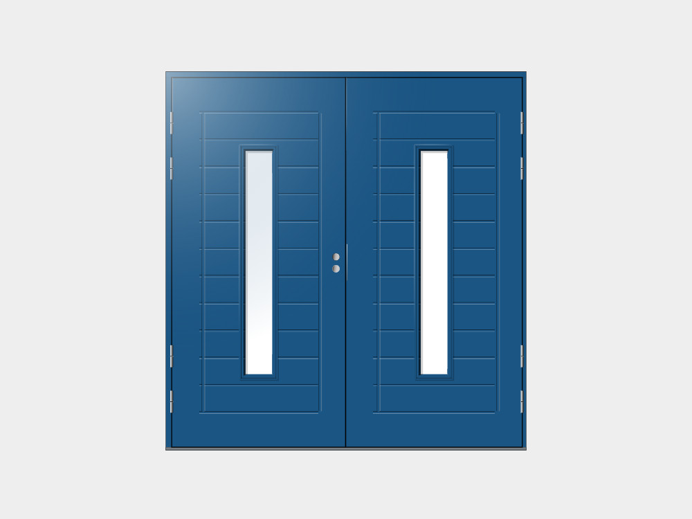 Ulko-ovi pariovena - Kaikki malliston ovet voidaan valmistaa myös pariovina 1990 x 2380 mm ovikokoon asti.