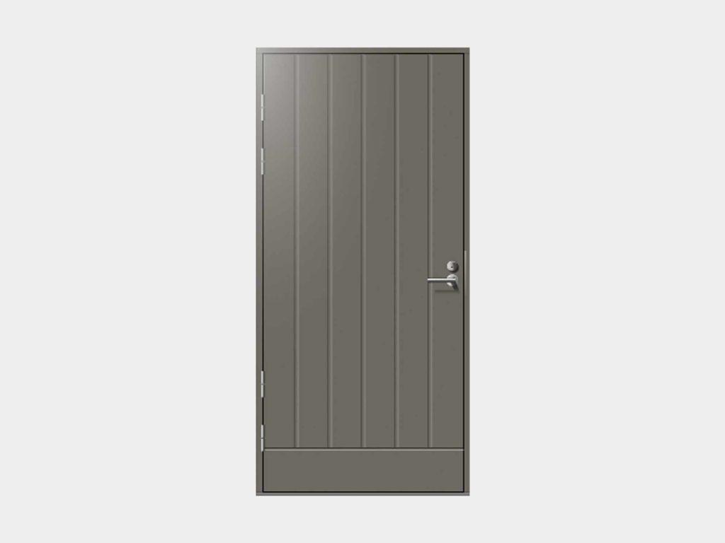 Talaksen tarkoituksenmukaisen simppeli muotokieli asettuu ovimallistomme konstailemattomimpaan reunaan. Pystyuritettu Talas varastonovi on vilpitön vaihtoehto, joka soveltuu hyvin pääoveksi, mutta malli on suosittu myös teknisen tilan, varaston tai autotallin käyntioveksi. Umpinaisen oven huikean hyvillä lämpöominaisuuksilla varustettu Talas on lämmin ja luotettava.